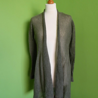 Mohair Cardigan in Khaki Green Colour. Womens approx size 12-14. Flare Top