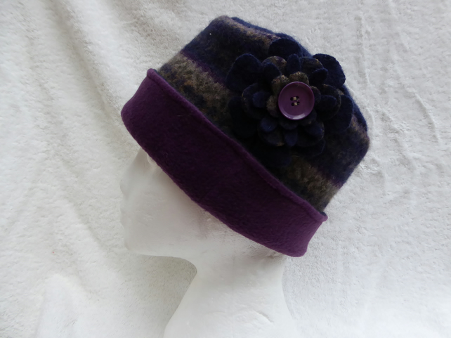 Wool Hat Created from Up-cycled Sweaters. Blue Fair Isle Brim