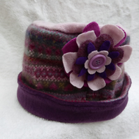Wool Hat Created from Up-cycled Sweaters. Pink Fair Isle . Pink Crown