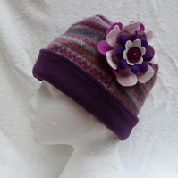 Wool Hat Created from Up-cycled Sweaters. Pink Fair Isle . Purple Crown