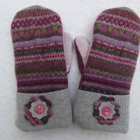 Mittens Created from Up-cycled Wool Jumpers. Fully Lined. Pink Fair Isle