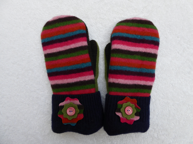 Mittens Created from Up-cycled Wool Jumpers. Fully Lined. Bright Stripe