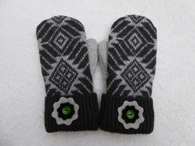 Mittens Created from Up-cycled Wool Jumpers. Fully Lined. Grey Fair Isle