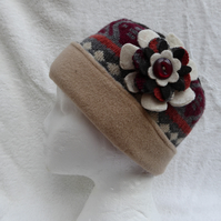 Wool Hat Created from Up-cycled Sweaters. Browns and Beige