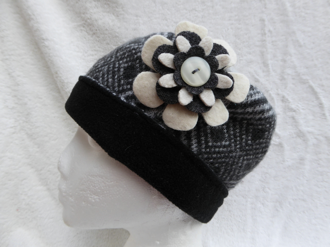 Wool Hat Created from Up-cycled Sweaters. Grey Fair Isle