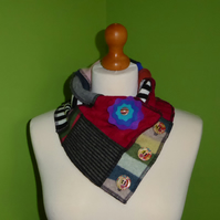 Neck Warmer Scarf with 3 button Trim. Upcycled Cowl. Felt Flower. Stripe Lining
