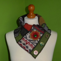 Neck Warmer Scarf with 3 button Trim. Upcycled Cowl. Felt Flower. Browns