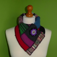 Neck Warmer Scarf with 3 button Trim. Upcycled Cowl. Felt Flower. Stripe Edge