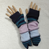 Finger-less Gloves Arm-warmers created from Up-cycled Sweaters. Navy Blue Lilac