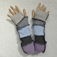 Finger-less Gloves Arm-warmers created from Up-cycled Sweaters. Pale Blue grey