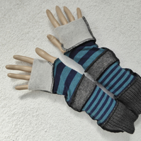 Finger-less Gloves Arm-warmers created from Up-cycled Sweaters. Blue Grey Stripe