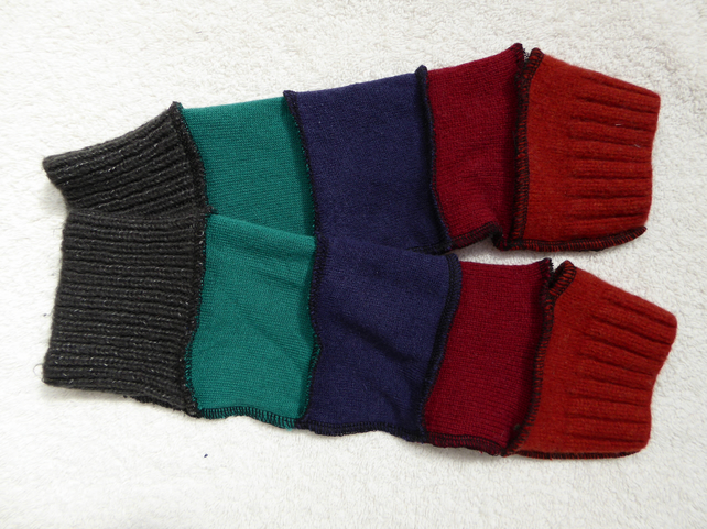 Finger-less Gloves Arm-warmers created from Up-cycled Sweaters. Orange red grey