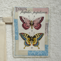 Butterfly Postcard Print Zipped Purse with Wrist Strap