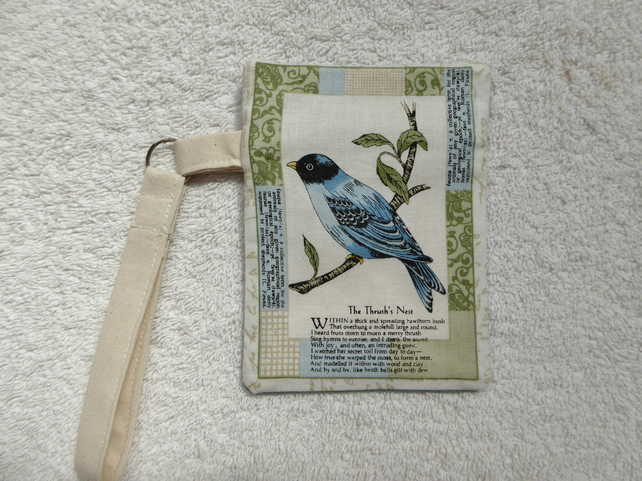 Blue Bird Postcard Print Zipped Purse with Wrist Strap