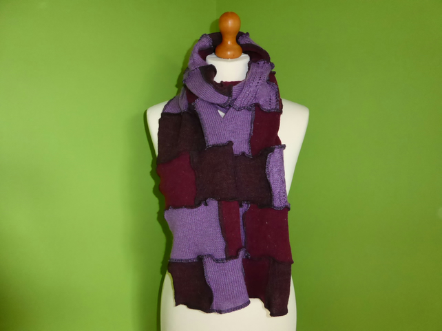 Upcycled Patchwork Wool Long Scarf in Burgundy