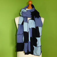 Upcycled Patchwork Wool Long Scarf in Blues.