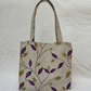 Handbag with Embroidery on Linen Style Fabric. Purple Leaf Design