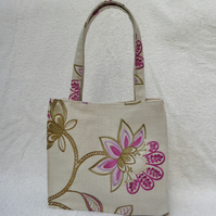 Handbag with Embroidery on Linen Style Fabric. Pink Flower Design