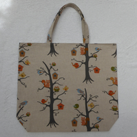 Birds in the Trees Bag. Shopping Tote. Fully Lined with Inside Pocket.