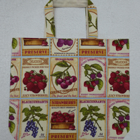 Fruit Labels Print Bag. Shopping Tote. Fully Lined with Inside Pocket.