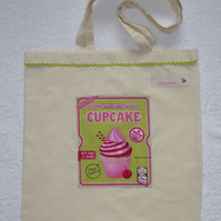 Cotton Canvas Bag with Pink Cup Cake Applique Panel. Green RicRac. Tote Bag