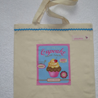 Cotton Canvas Bag with Cherry Cup Cake Applique Panel. Blue RicRac. Tote Bag