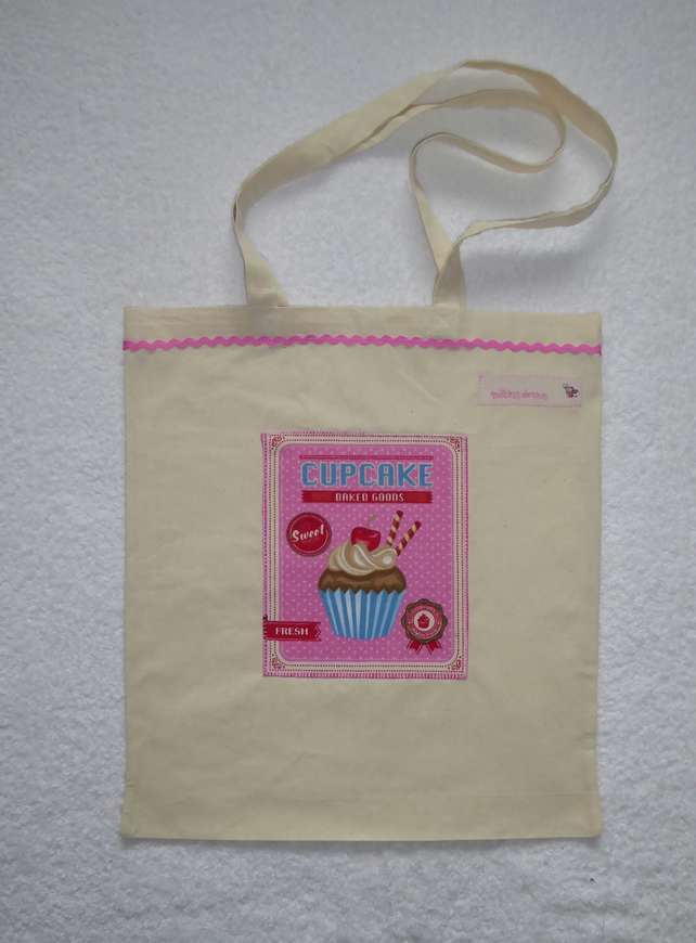 Cotton Canvas Bag with Pink Cup Cake Applique Panel.  Pink RicRac. Tote Bag