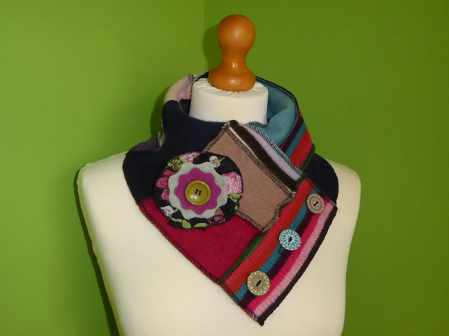 Neck Warmer Scarf with 3 button Trim. Upcycled Cowl. Felt Flower. Stripes.