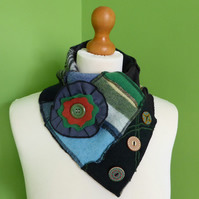 Neck Warmer Scarf with 3 button Trim. Upcycled Cowl. Felt Flower. Greens.