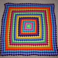 Crochet Lap Blanket. Crochet Throw. Baby Cot Blanket. Rainbow Blanket