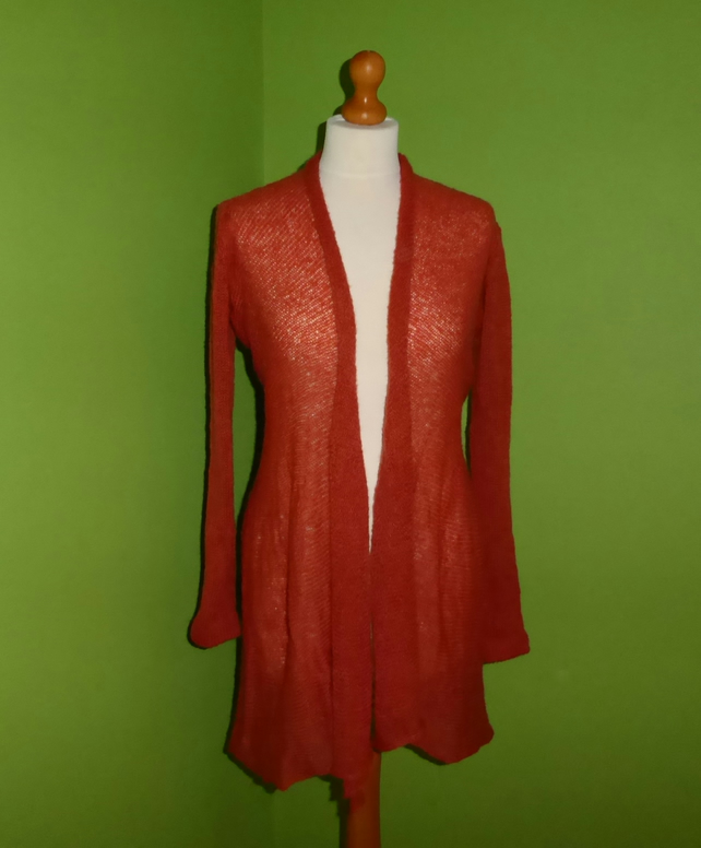 Mohair Cardigan in Burnt Orange Colour. Womens approx size 12-14. Flare Top