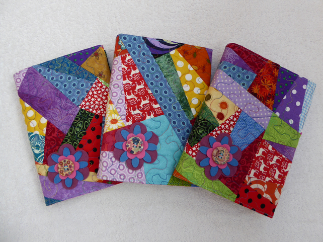 Quilted Patchwork A5 Bookcover with Felt Flower Embellishment. Lined Notebook.