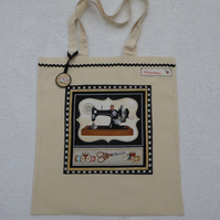 Cotton Canvas Bag with Sewing Machine Applique Panel and Bag Charm. Black.