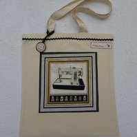 Cotton Canvas Bag with Sewing Machine Applique Panel and Bag Charm. Thimbles.