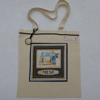 Cotton Canvas Bag with Sewing Machine Applique Panel and Bag Charm. Blue machine