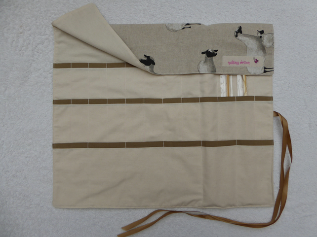 Knitting Needle Roll In Sheep Print Fabric with 3 Pairs Bamboo Needles.