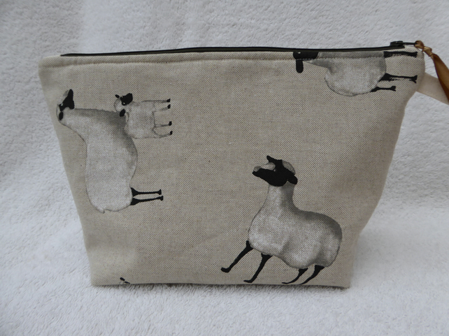 Sheep  Print Project Holder. Lined Purse. Zipped Holdall.