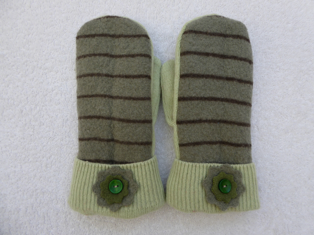 Mittens Created from Up-cycled Wool Jumpers. Fully Lined. Green with BrownStripe