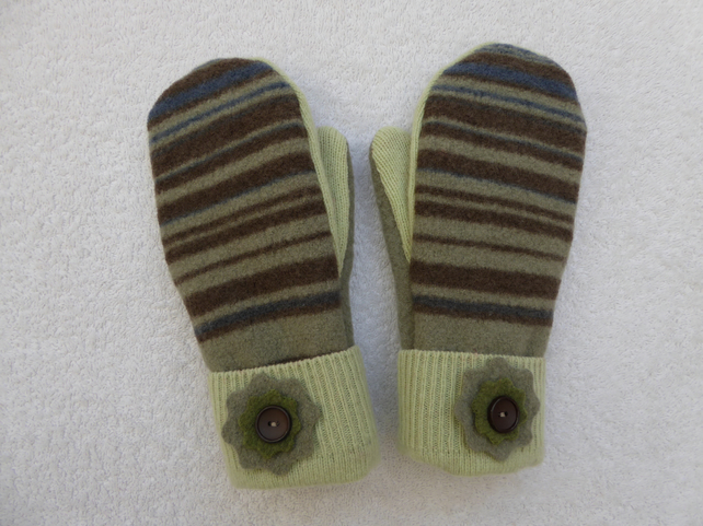 Mittens Created from Up-cycled Wool Jumpers. Fully Lined. Green Multi Stripe