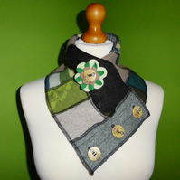 Neck Warmer Scarf with 3 button Trim. Upcycled Cowl. Felt Flower. Greens