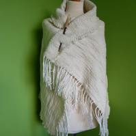 Woven Shawl . Woven Natural Wool and Cotton Throw.