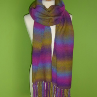 Woven Scarf. Extra Long Snuggly Scarf with Tassel Trim. Stripe Scarf