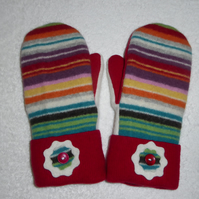 Mittens Created from Up-cycled Wool Jumpers. Fully Lined. Red Cuff