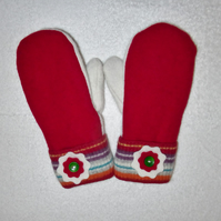 Mittens Created from Up-cycled Wool Jumpers. Fully Lined. Striped Cuff