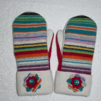 Mittens Created from Up-cycled Wool Jumpers. Fully Lined. Cream Cuff
