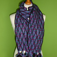 Scarf in Crochet Wave Stitch with Circle Tassel Trim. Black Purple Scarf