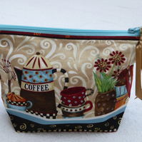 Coffee Pot Themed Print Cotton Zipped Purse. Fully Lined with Gusset and Zip.