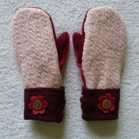 Mittens Created from Up-cycled Wool Jumpers. Fully Lined. Burgundy Button Cuff