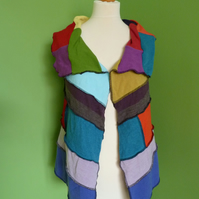 Waistcoat from Patchwork Up-cycled Jumpers. Small to Medium. Multicoloured