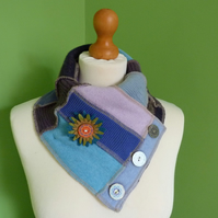 Neck Warmer Scarf with 3 button Trim. Upcycled Cowl. Felt Flower. Blue Lilac